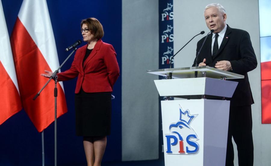 Prezes Prawa i Sprawiedliwości Jarosław Kaczyński oraz rzeczniczka partii Beata Mazurek