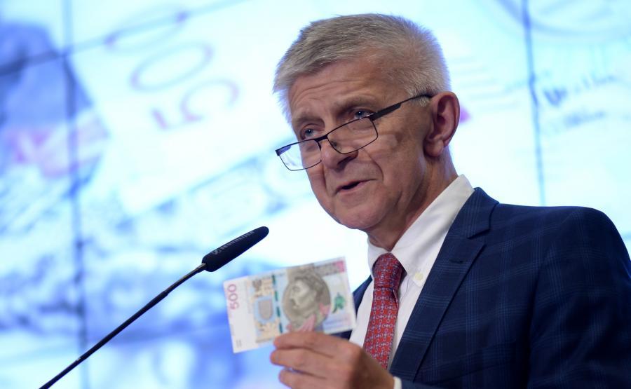 Marek Belka rezentuje nowy banknot: 500 złotych