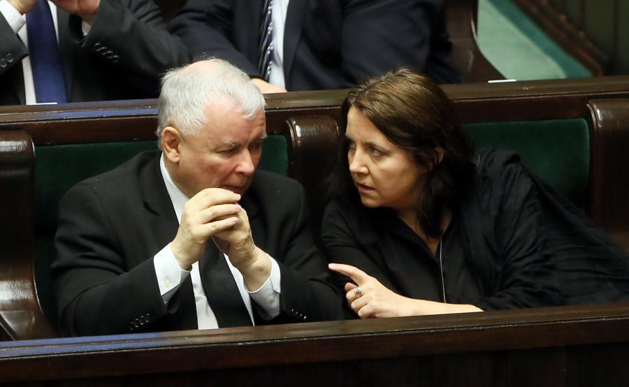 Jarosław Kaczyński i Joanna Lichocka w Sejmie