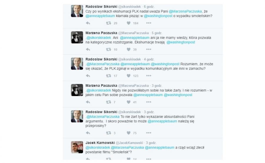 Wymiana tweetów Radosława Sikorskiego z Małgorzatą Paczuską
