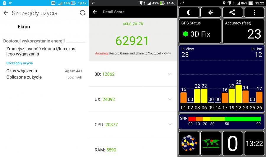 Czas pracy na baterii, AnTuTu Benchmark, GPS test
