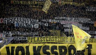 Kibice Borussii Dortmund podczas meczu z RB Lipsk